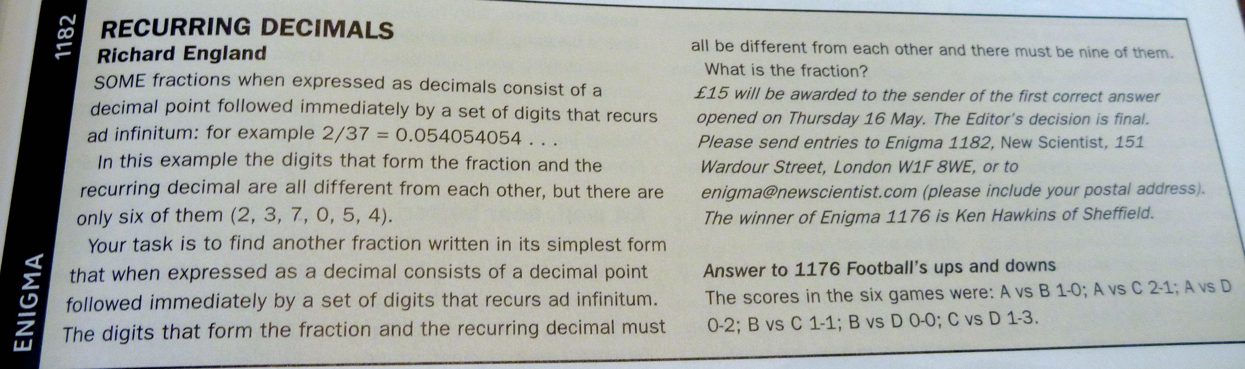 recurring decimals essay