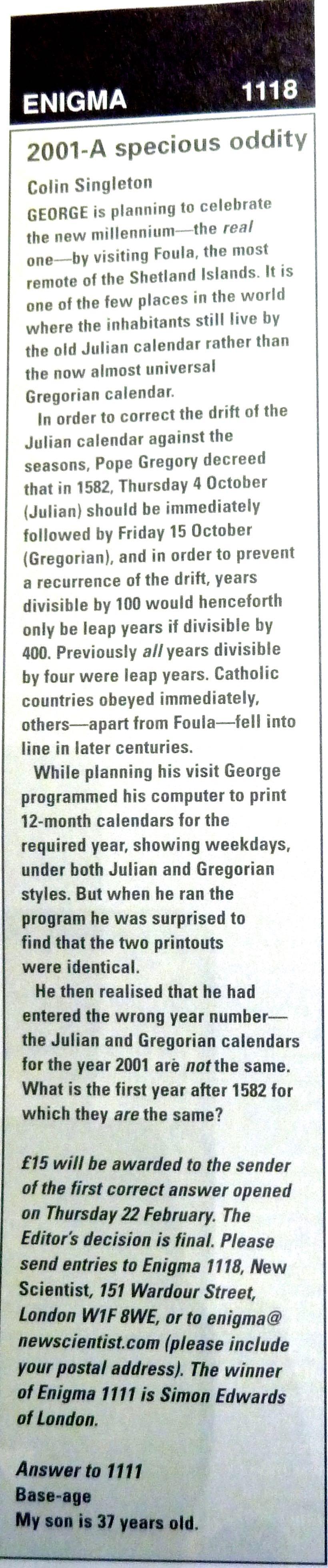 Julian Leap Year Calendar : Enigma 1118: 2001 u2013 a specious oddity enigmatic code